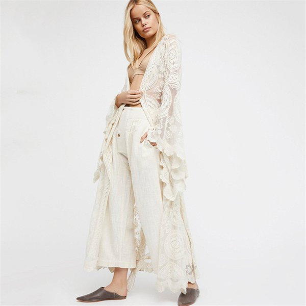 Boho Style Dresses Women Solid Color Lace Long Dress Sexy Transparent Cardigan Beach Party Maxi Elegant Robes Female Summer White Dresses