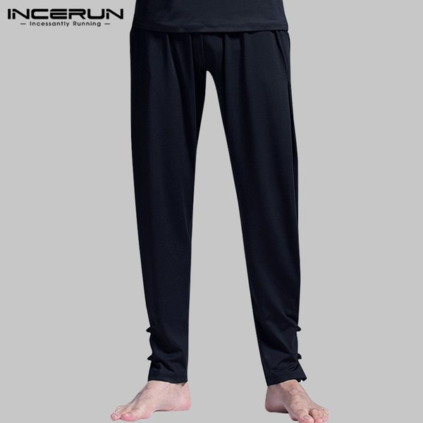 INCERUN Chinese Style Men Kung Fu Pants Elastic Waist Solid Color Workout Quick Dry Joggers Pants Loose Trousers Men S-5XL 2019