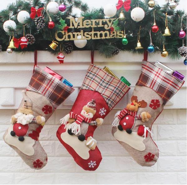 Chaussette De Noël Père Noël Bonhomme De Neige Elk Motif Cadeau Sac À Carreaux De Noël Chaussette De Noël Suspendu Ornements Décorations