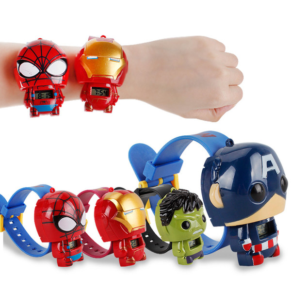 top popular Hot Electronic Toys Watch Avengers Iron Man Green Giant Spiderman Captain America doll deformation toy kids toys for children 2020