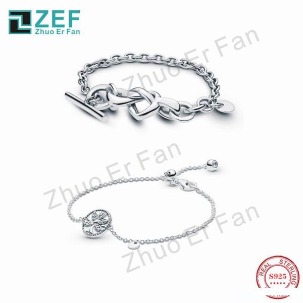 Zef pan 925 Bracelet en argent sterling pour les femmes, noueuse coeur ARBRE DE LIFEOriginal classique LOGO mode de luxe Femmes Bijoux cadeau