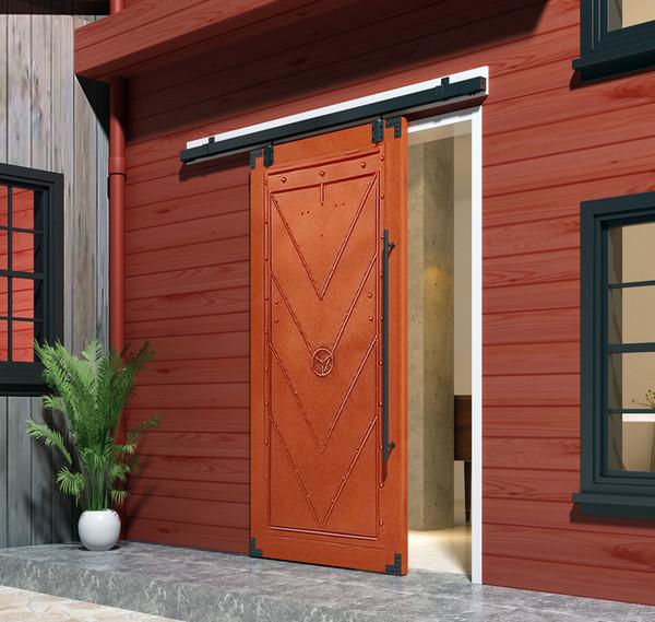 best selling DIYHD 5FT-8FT Smooth Black Box Rail Heavy Duty Barn Door Hardware Interior Outside Door Sliding Track Kit