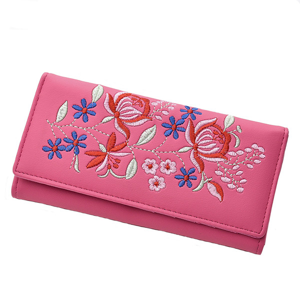 New design envelope ladies leather buckle wallet multi-function long wallet zipper clutch bag women's retro embroidery flower wa