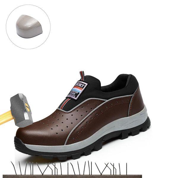 Sapatos de trabalho Nariz de segurança em aço 2019 dos homens novos de Verão Anti-quebrando Anti-punção couro respirável Wear Boots Trabalho Resistentes