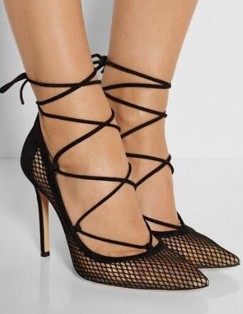Newest High Quality Shoes Hot Sale Fashion Cheap Price Ankle New Arrival Sexy Point Toe Dress Shoes Lace-up Big Size 10 cut-out