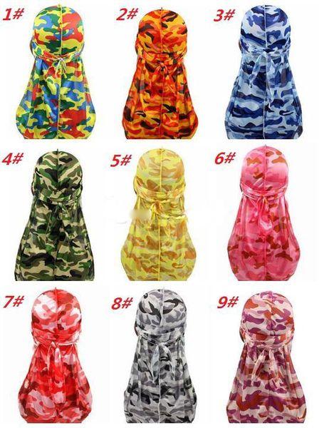Fashion Camouflage Print Men's Durags Turban Bandanas Stitching Outside Men Durag Headwear Headband Pirate Hat Hair Accessories