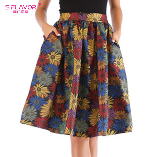 s.flavor spring floral print high waist skirt new women knee length pleated a line saia female party casual pockets skirts, Black
