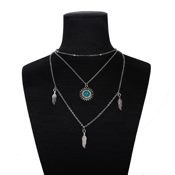 boho blue gem pendant round drop necklace choker ancient silver feather chain multi-layer necklaces for women party jewelry