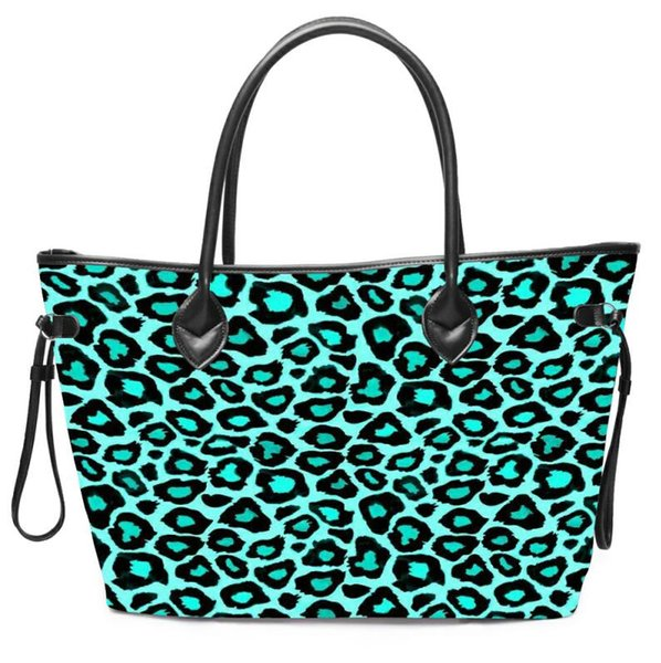 Designer-Turquoise Leopard Cactus Stripe Tote Wholesale Handbag Flower Canvas Striped Purse Can Be Embroidery Free Shipping Wedding Gift Bag