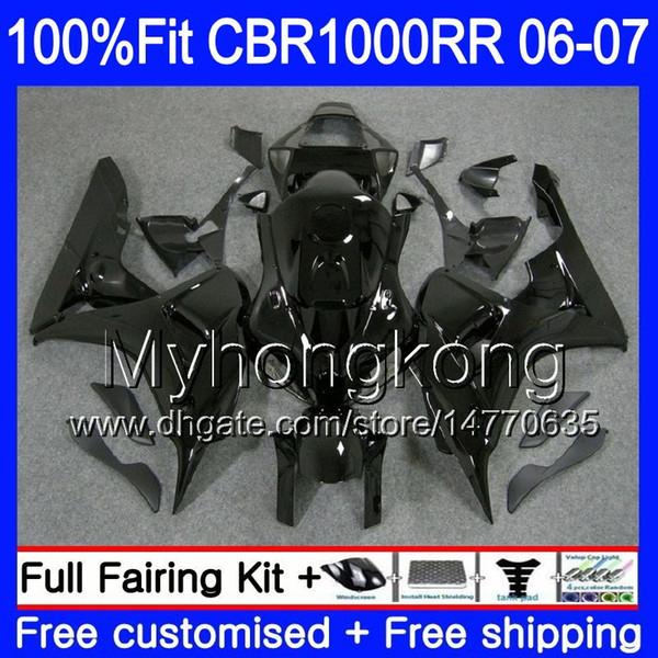 Injection Body +Tank For HONDA CBR 1000 RR CBR 1000RR 06-07 276HM.7 CBR1000RR 06 07 CBR1000 RR Glossy black full 2006 2007 OEM Fairings kit