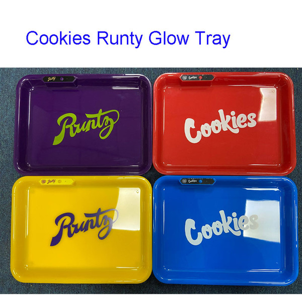 top popular Runty Cookies Glow Tray with with Bluetooth speaker Cookies roll Trays Runtz With Gift Box For 710 Flower Dry Herb LED Rolling Tray 2021