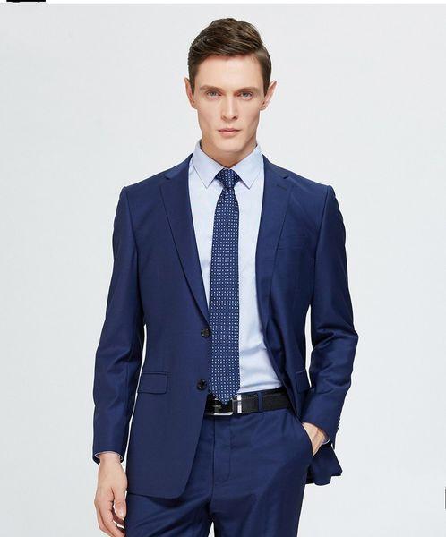 Classic Designe Navy Blue Men Wedding Dress Excellent Groom Tuxedos Hot Sale Jacket Blazer Men Business Dinner/Prom Suit(Jacket+Pants+Tie)19