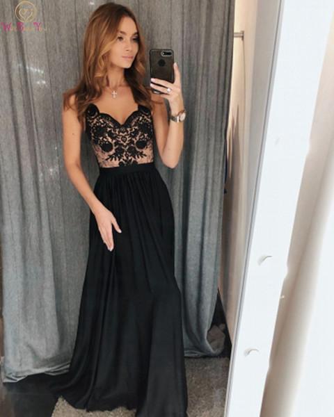 Abiti da cocktail scollo a cuore neri eleganti per le ragazze 2019 nuove appliques lunghe in raso abendkleider una linea senza maniche abiti da sera da ballo
