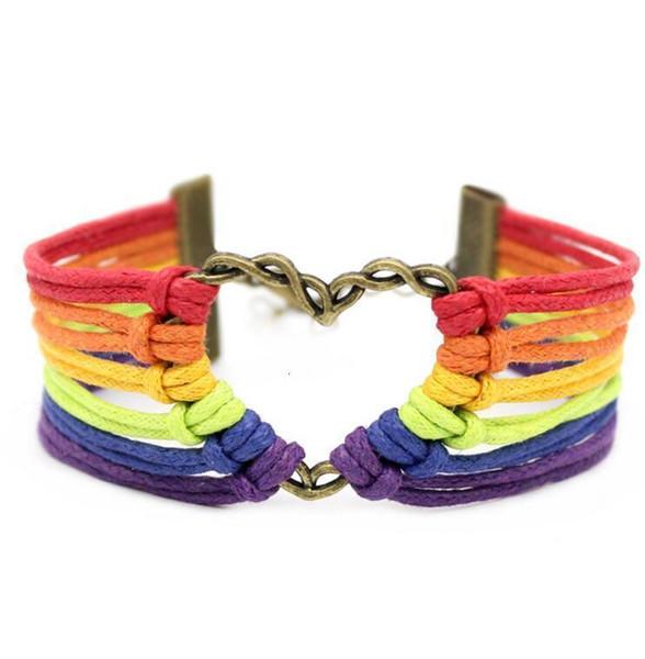 2019 Lgbt Manual Metal Love Rainbow Weave Bracelet Bracelet