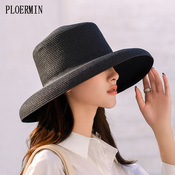 PLOERMIN Summer Straw Hat For Women 2019 Fashion Elegant Lady Hepburn Hat Wide Brim Floppy Beach Female Visor Sun
