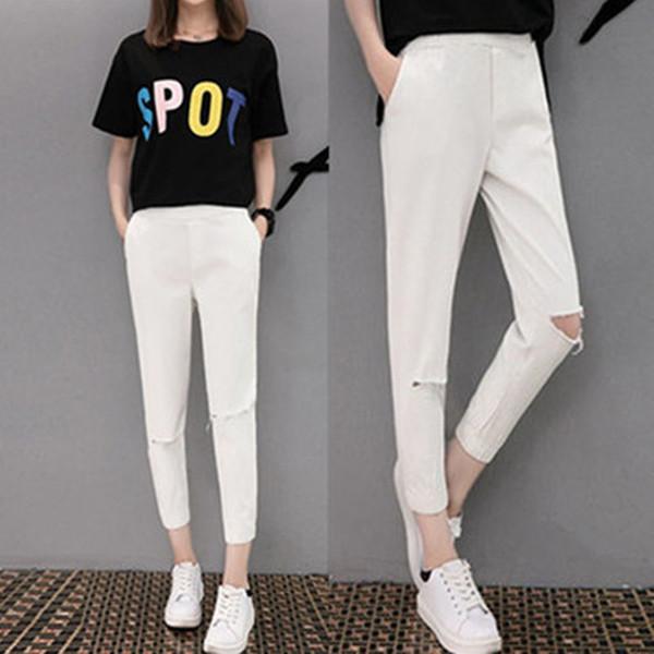 Été 2019 Korean Style Femmes Sarouels Plus La Taille M- 6XL Trou Dames Pantalon Taille Élastique Anklet-Leng Pantalon Casual Capris