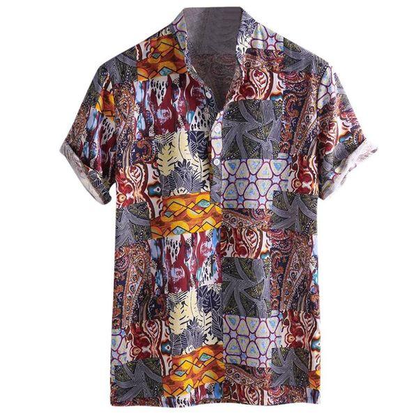 2019 Männer Baumwolle Kurzarm Button-Down-Shirt Luxus-Sommerhemd Männer Kurzarm plus Größe Outdoor-Sport 40J11