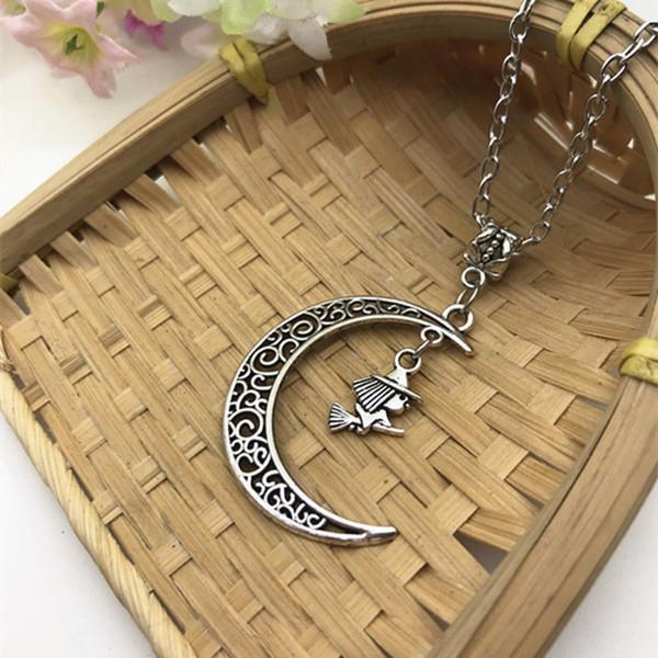 Lega di zinco calda argento antico Volare strega in luna pendente di fascino 45 centimetri catena croce collana coppia gioielli buona fortuna San Valentino presente