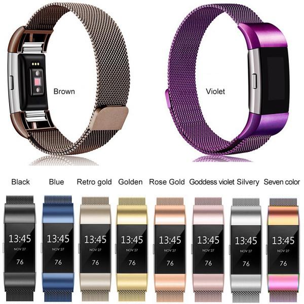 Fitbit Charge2 bandı Watchband Bilezik Fitbit Şarj 2 Yedek Bileklik Kayışı ile ilgili Paslanmaz Çelik Manyetik Milanese Döngü Bandı