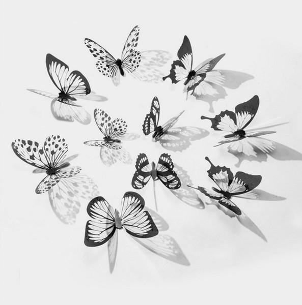 Schmetterlingswanddekorationaufkleber ummauern Hauptdekorationraum-Wandkunst 3d Schmetterlingsmehrfarbenschmetterling freies Verschiffen