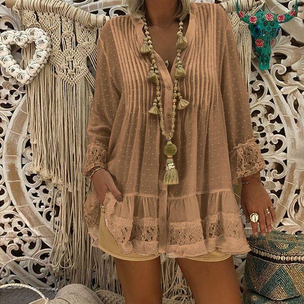 Women Summer V Neck Beach Cover Plus Size Ladies Vintage Baggy Blouses Shirt Womens Tops Tunics