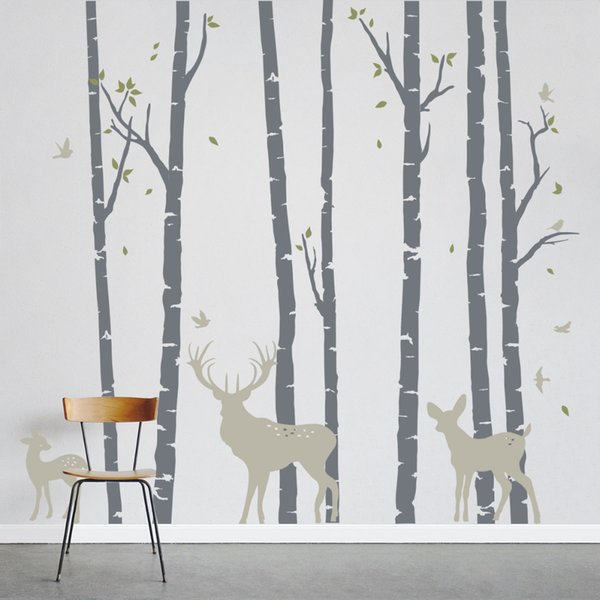 Large Size Birch Trees Forest with Deers Wall Sticker Art Home Wall Decor Mural Stickers Removable Vinyl Tree Decorative LC235