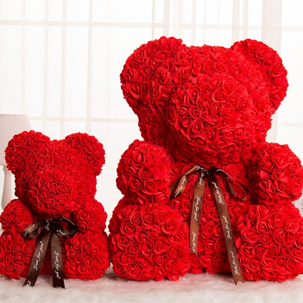 Artificial Flowers Rose Bear Valentine's Day Gift Girlfriend Anniversary Birthday Present For Wedding Party Decoration Teddy Toy