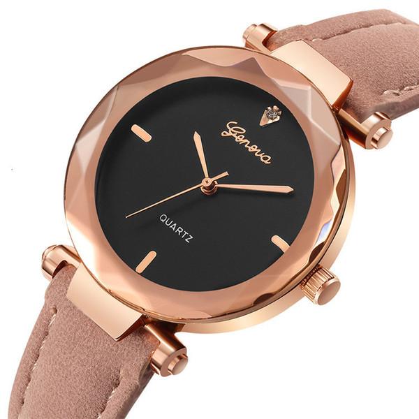 New Women Dress Watches Geneva Leather Band Watch Women Rhinestone Luxury Quartz Watch Reloj Mujer Kol Saati Feminino