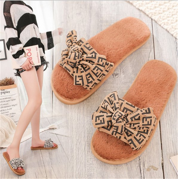FF Letter Brand Designer Furry Sandals Women Bowknot Fur Slipper Non Slip Indoor Slides Soft Flat Bottom Slippers Antiskid Shoes B82802