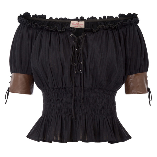 Sexy barra de hombro Hombro punk camiseta Mujeres 2018 verano cintura elástica plisada Vintage camiseta Steampunk Short Victorian Tops J190424