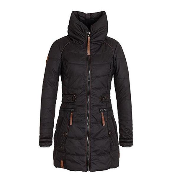 Las mujeres espesan los abrigos de invierno terciopelo algodón guata delgado soporte del cuello de la cremallera cremallera gótico causal otoño chaquetas abrigos mujer