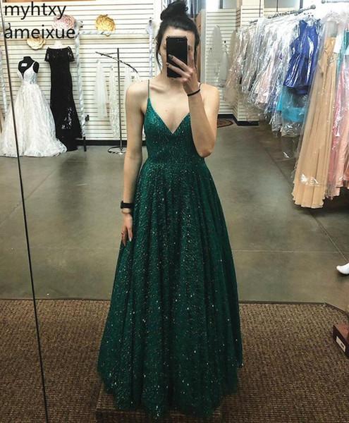 Novo Lindo Brilhando Beading Strap Ganância Vestidos de Noite Sexy Plus Size Festa Longo Prom Vestido Formal Robe De Soiree Longue