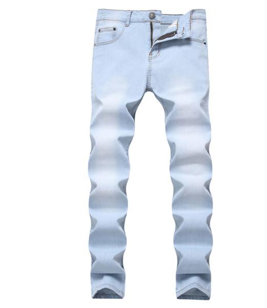 Vogue Güzel Yeni Denim Four Seasons Erkekler Jeans Tam Boy Düz Yumuşak Rahatlık Günlük Stil Zip Düğme Dekorasyon