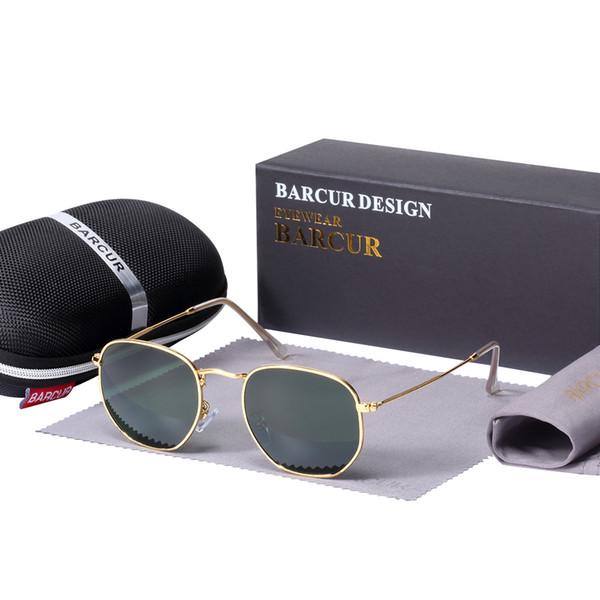 BARCUR New Glass Lens Reflective Sunglasses Women Sun glasses Men Stainless Steel Frame Eyewear Mirror Hexagon Oculos De Sol