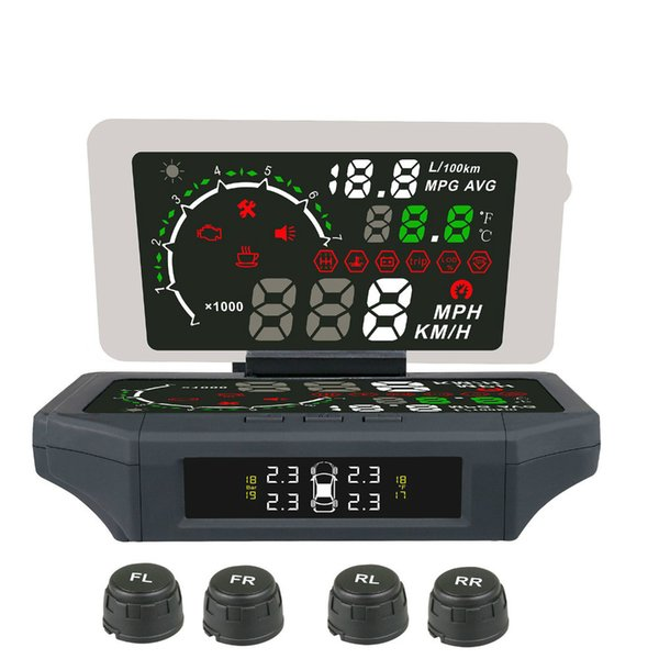 Alarma de la presión de los neumáticos de velocidad excesiva del automóvil OBD 2 Pantalla de visualización ascendente del coche TPMS OBDII HUD Monitor de conducción digital HUD TPMS Gague