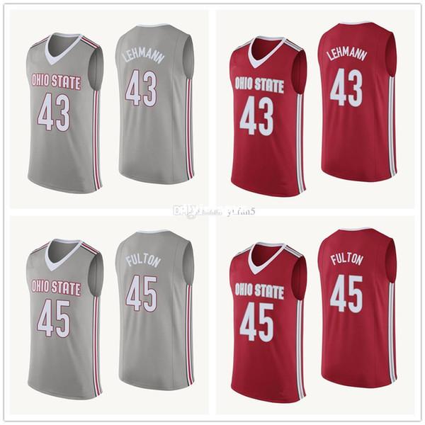 Colégio de Buckeyes do estado de Ohio # 43 Matt Lehmann # 45 Jersey de basquete de Connor Fulton Mens Costurado nome personalizado número Jerseys
