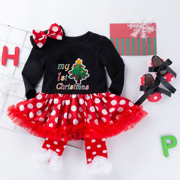 1 Set Of New Spring Fashion Dresses For Baby Girls Christmas Pattern Princess Dress Dot Print Casual Tutu Dress Set