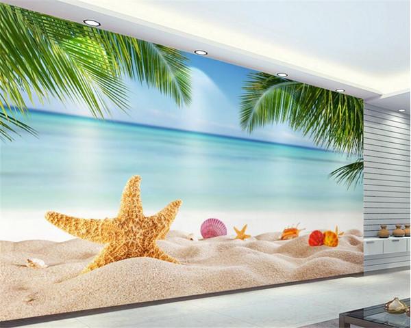 Beibehang plage cocotier de photo 3d papier peint peintures murales de décoration murale vivant chambre salle TV Fonds d'écran photo 3d