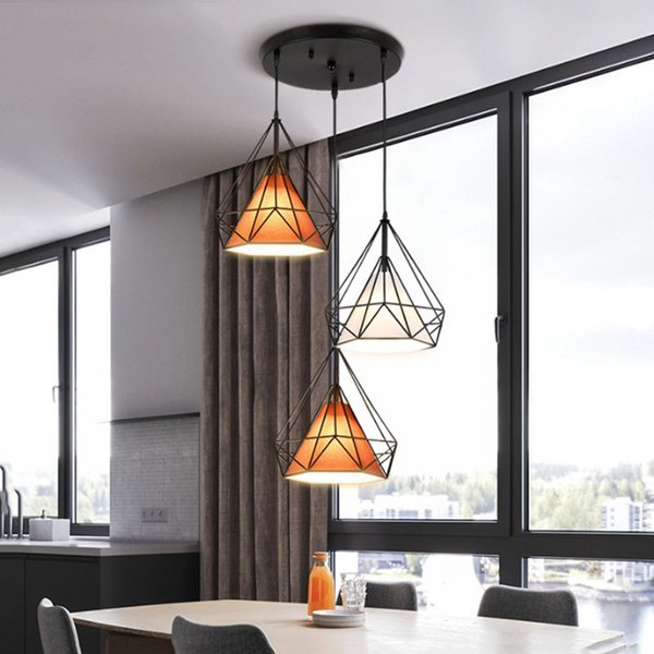 Nordic creative loft retro dining chandelier living room clothing store bar personality three head iron birdcage diamond chandelier