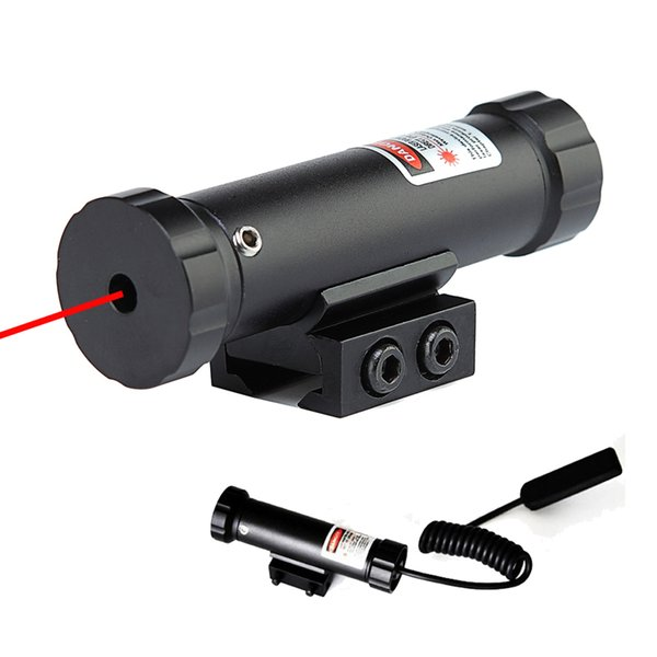 Tactical 5mW Mini Red Sight Pistolet laser pour fusil de chasse tactique avec monture sur rail de 11 mm et commutateur de ligne déporté noir mat.