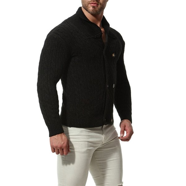 Nice Autumn Winter Men Thick Slim Sweater Fashion Cotton Blend Solid Color Cardigan Coat For Male M-2XL