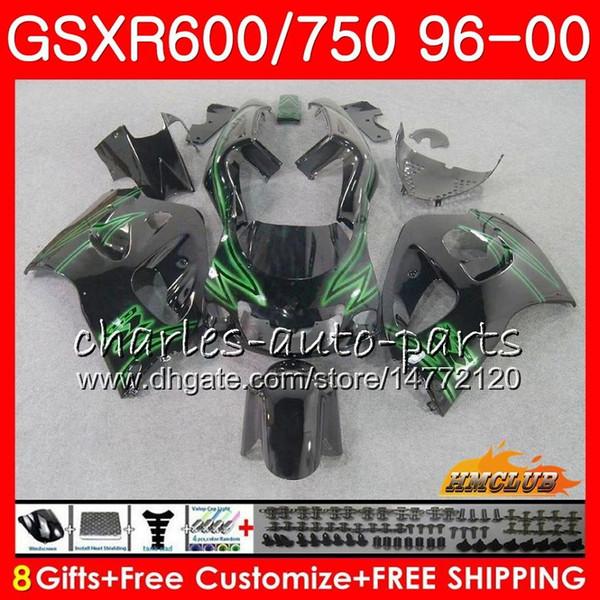 Body For SUZUKI SRAD GSXR-600 GSXR750 1996 1997 1998 1999 2000 1HC.69 GSX-R750 GSXR 750 600 GSXR600 Green black 96 97 98 99 00 Fairing kit