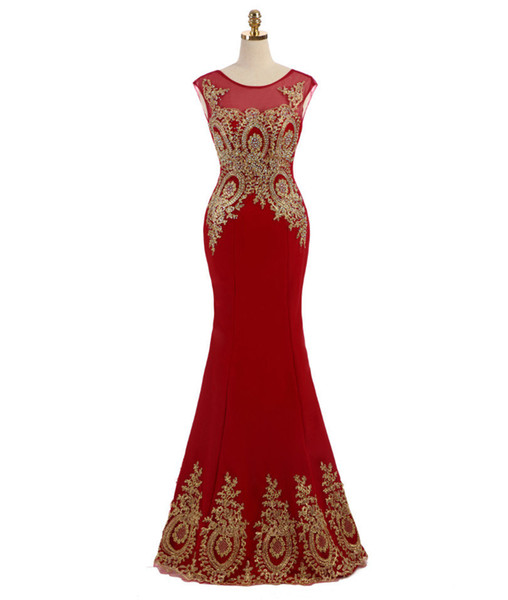 2019 Red Formal Evening Dresses Gold Lace Appliques Sequins Jewel Sleeveless Mermaid Court Train Plus Size Prom Evening Gown