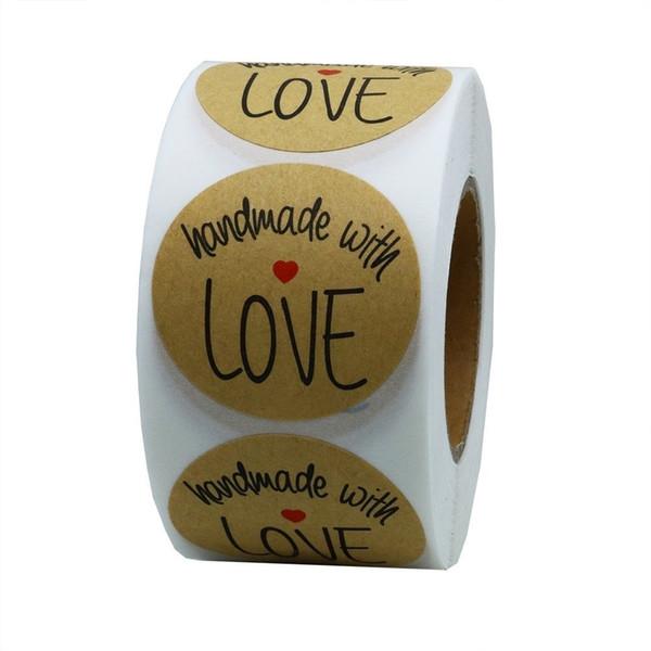 1 pouce rond autocollant étiquette autocollant avec coeur rouge papier kraft cuit paquet scellé autocollant emballage alimentaire étiquette autocollant bricolage
