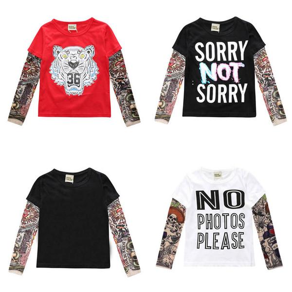 Heißer Verkauf Frühling Herbst Kinder T-Shirts Tattoo Langarm T-shirts Kinder Jungen T-shirt Baumwolle Kinder Mädchen Tops Kinder Kleidung