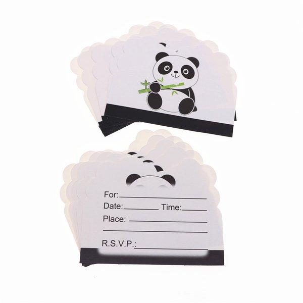 Compre 10 Unids Lote Panda Fiesta Invitación Tarjeta Dibujos Animados Para Niños Cumpleaños Fiesta Boda Decoración Suministros A 40 33 Del Baibuju8