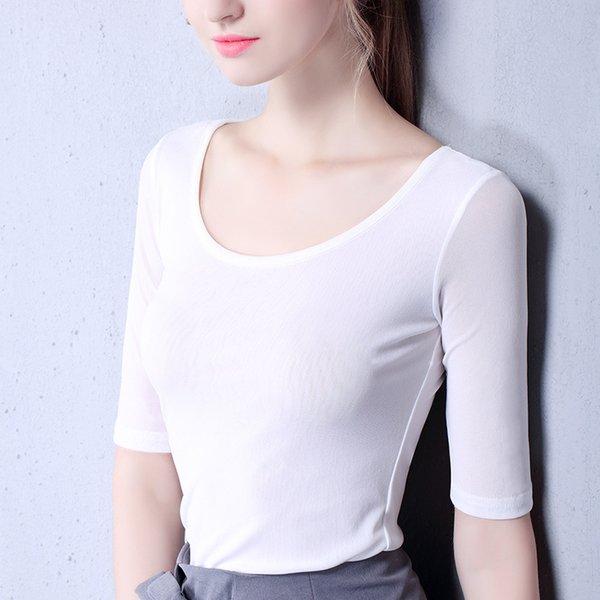 2019 nouvelle arrivée femmes Mesh Bottoming Shirt col rond cinq concepteur de T-shirt pour l'été respirant six couleur unie S-3XL gros