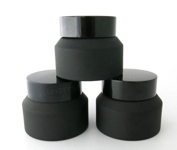 15g 30g 50g Frost Black Glass Cream Jar Con Tapas Negras Sellado Blanco Contenedor de Inserción Envase de Cosméticos Crema de Vidrio Crema