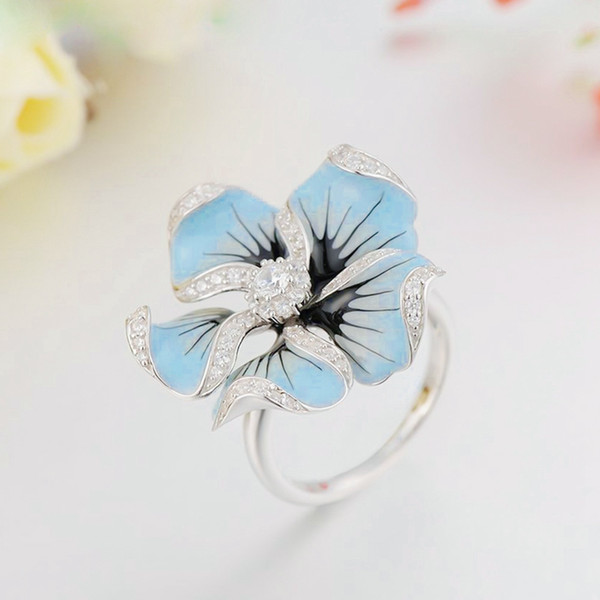 Big Flower Zircon Stone Rings For Women Wedding Engagement Party Jewelry Christmas Gift Wedding Crystal Silver Color Rings