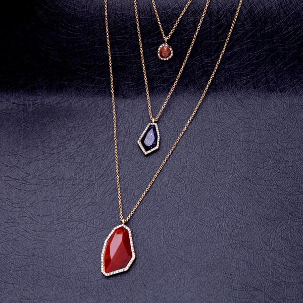 Geometrische bunte stein choker halskette casual style multichain trendy schmuck freundschaft halskette für party in box